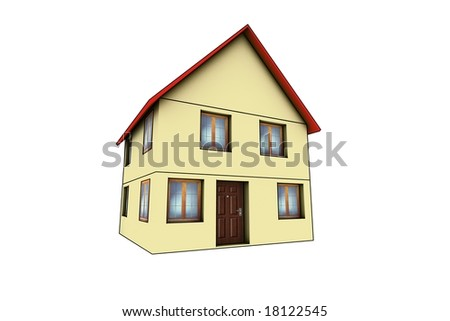 little house - 3d render isolated illustration on white