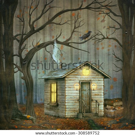 Little House  in a fairytale forest among trees  - stock photo