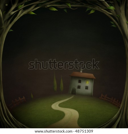 Little House in the night forest - stock photo