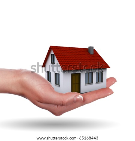 Little House on the hands and the girls. symbol of a successful real estate business. - stock photo
