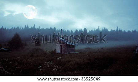 little house over the mystery moon landscape - stock photo