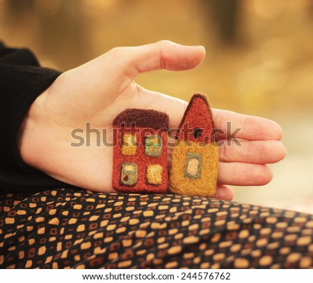little houses and woman hand, outdoor