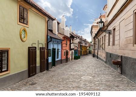 Little houses on Golden street inside of Hrandcany Castle, Prague, Czech Republic. - stock photo