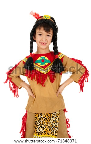 Little indian boy - child in american indian costume mask dressed for carnival isolated on white baCKground