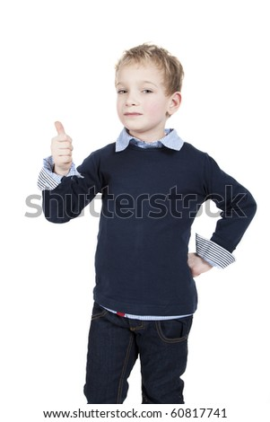 Little is hold his thumb up for success. - stock photo