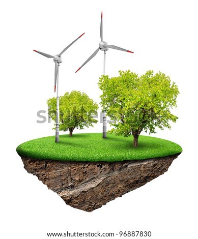 Little island with wind turbines and trees isolated on white background - stock photo