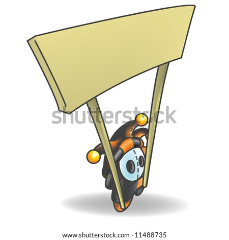 Little Jester or Joker Character Holding a Sign that is left empty for your design. - stock photo