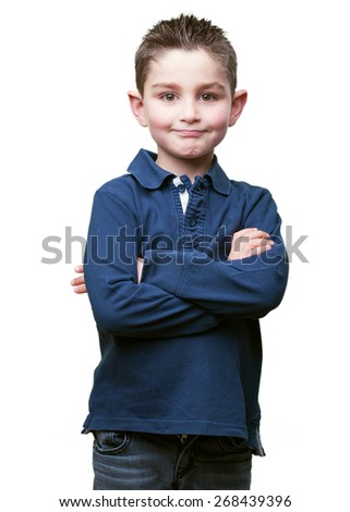 little kid crossing his arms - stock photo