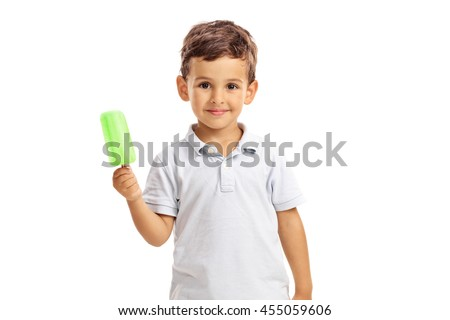 Little kid holding a green ice-cream and looking at the camera isolated on white background - stock photo
