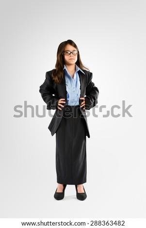 Little Kid playing Businesswoman  - stock photo