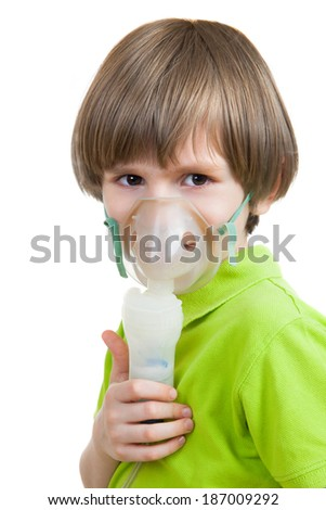 Little kid with inhalation isolated on white background