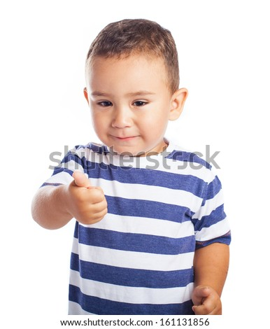 little kid with thumb up isolated on white
