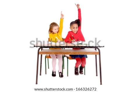 little kids at school isolated in white - stock photo