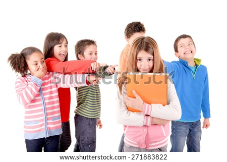 little kids bullying another kid isolated in white - stock photo