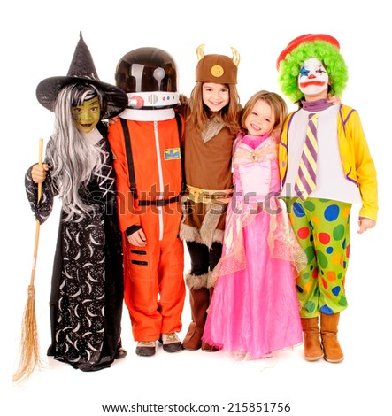 little kids in costume isolated in white - stock photo