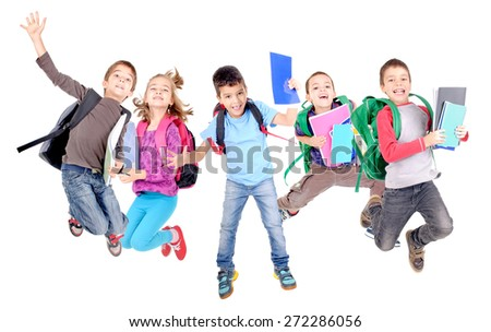 little kids jumping at school isolated in white - stock photo