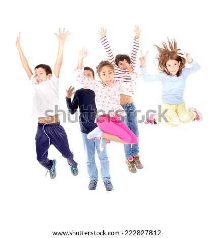 little kids jumping isolated in white