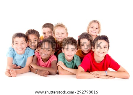 little kids with beach clothes isolated in white background