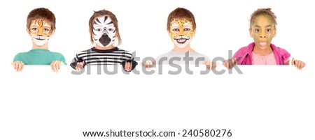 little kids with face painted isolated in white - stock photo