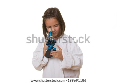 Little laboratory girl in over sized medical uniform. Isolated on white background. - stock photo
