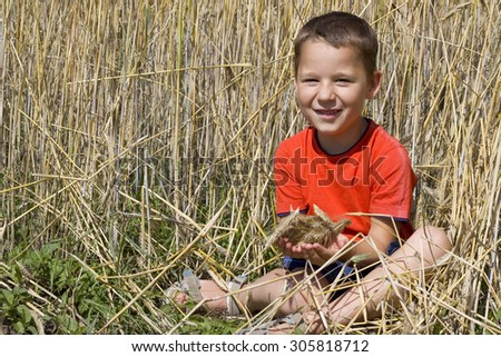 Little laughing boy sitting in a wheat field - stock photo