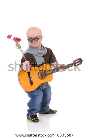 Little man, Don Juan dwarf with valentine rose and guitar, studio shot, white background - stock photo