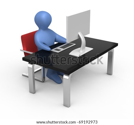 Little man working on computer. Isolated on white.
