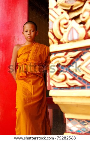 little monk in thailand - stock photo