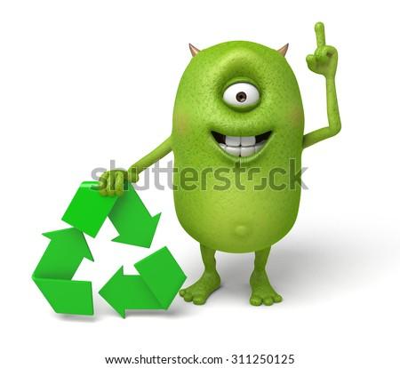 Little Monster Recycling Symbol Stock Illustration 311250125
