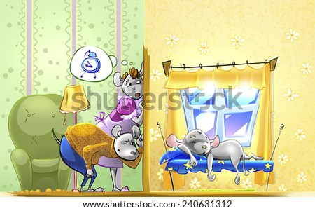 Little mouse asleep. Parents in the next room listening at the door. Illustration for fairy tale. - stock photo