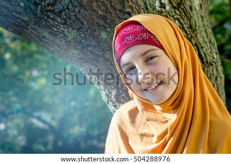 Little muslim girl portrait