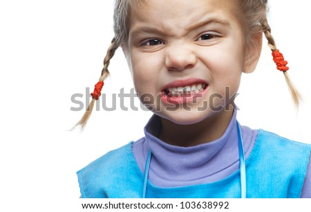 Little naughty girl poses faces, isolated on white background. - stock photo