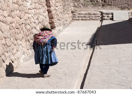 Little old peruvian lady - stock photo