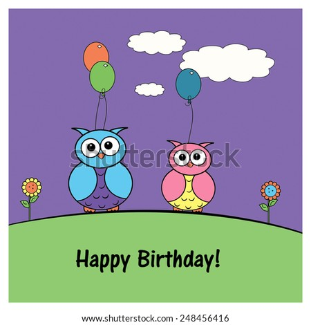 Little Owls - Birthday - stock photo