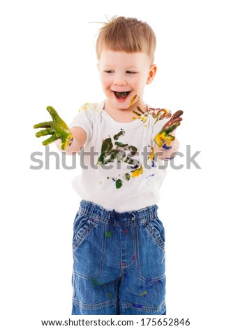 little painter stained in paint, isolated on white - stock photo