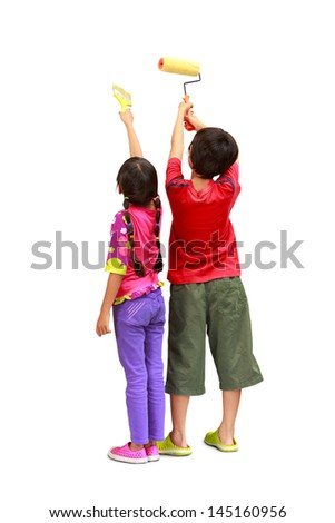 Little painters two kids in coveralls with paint rollers rear view, Isolated on white with clipping path - stock photo