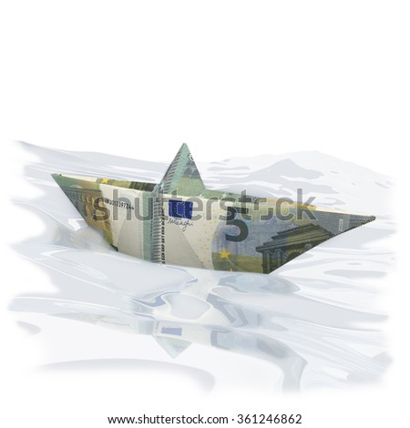 Little paper boat made of five Euro - stock photo