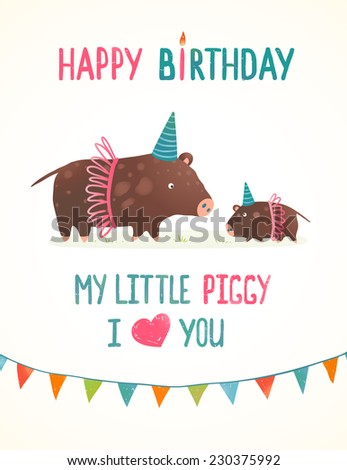 Little Piggy and Mother Birthday Greeting Card Cartoon Illustration. Cute pigs in clothes mama love design with flags. Raster variant. - stock photo