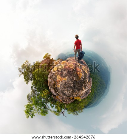 Little planet effect panorama of the hiker with backpack - stock photo