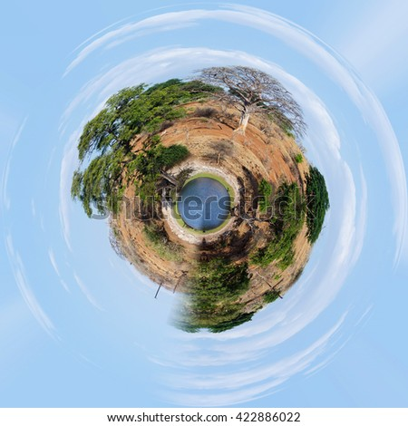 little planet of Chobe river in Botswana, Little planet with africa landscape, ecology concept. Tiny green projection. Save Africa ecology concept. - stock photo
