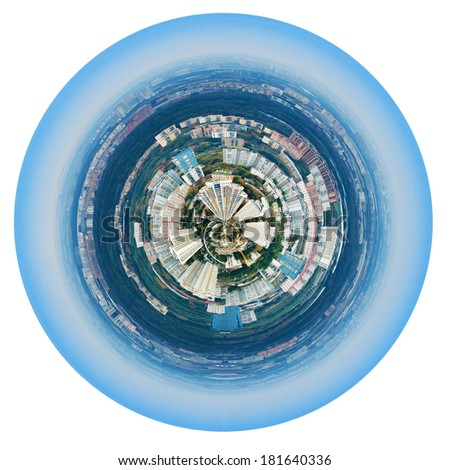 little planet - urban spherical panorama of Moscow residential district under blue sky isolated on white background