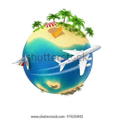 Little planet with a tropical island isolated on white background. Computer generated image. - stock photo