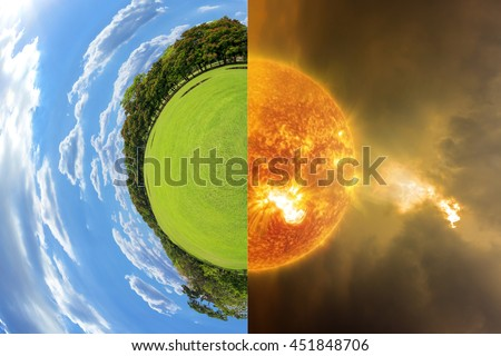 Little planet with green grass ecology concept global warming concept image showing the effect of environment climate change (Elements of this image furnished by NASA) - stock photo
