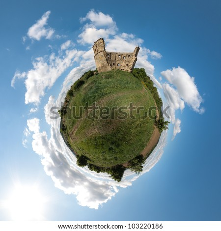 Little planet with old ancient ruin of windmill