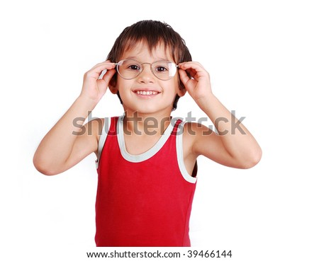 Little positive kid with glasses - stock photo