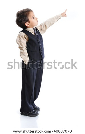 Little positive kid with nice clothes, isolated - stock photo