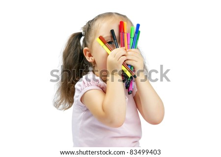 little pretty girl playing with markers on a white background isolated - stock photo