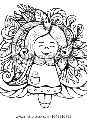 Little Princess Coloring Book Hand Drawn Girl For The Anti Stress Page