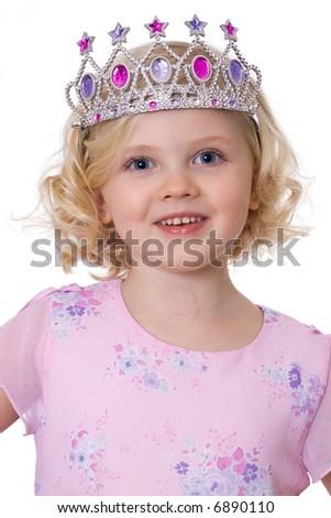 Little princess - fair-haired girl with tiara - stock photo