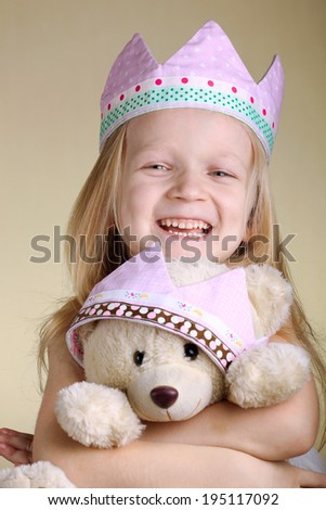 little princess with her bear  - stock photo